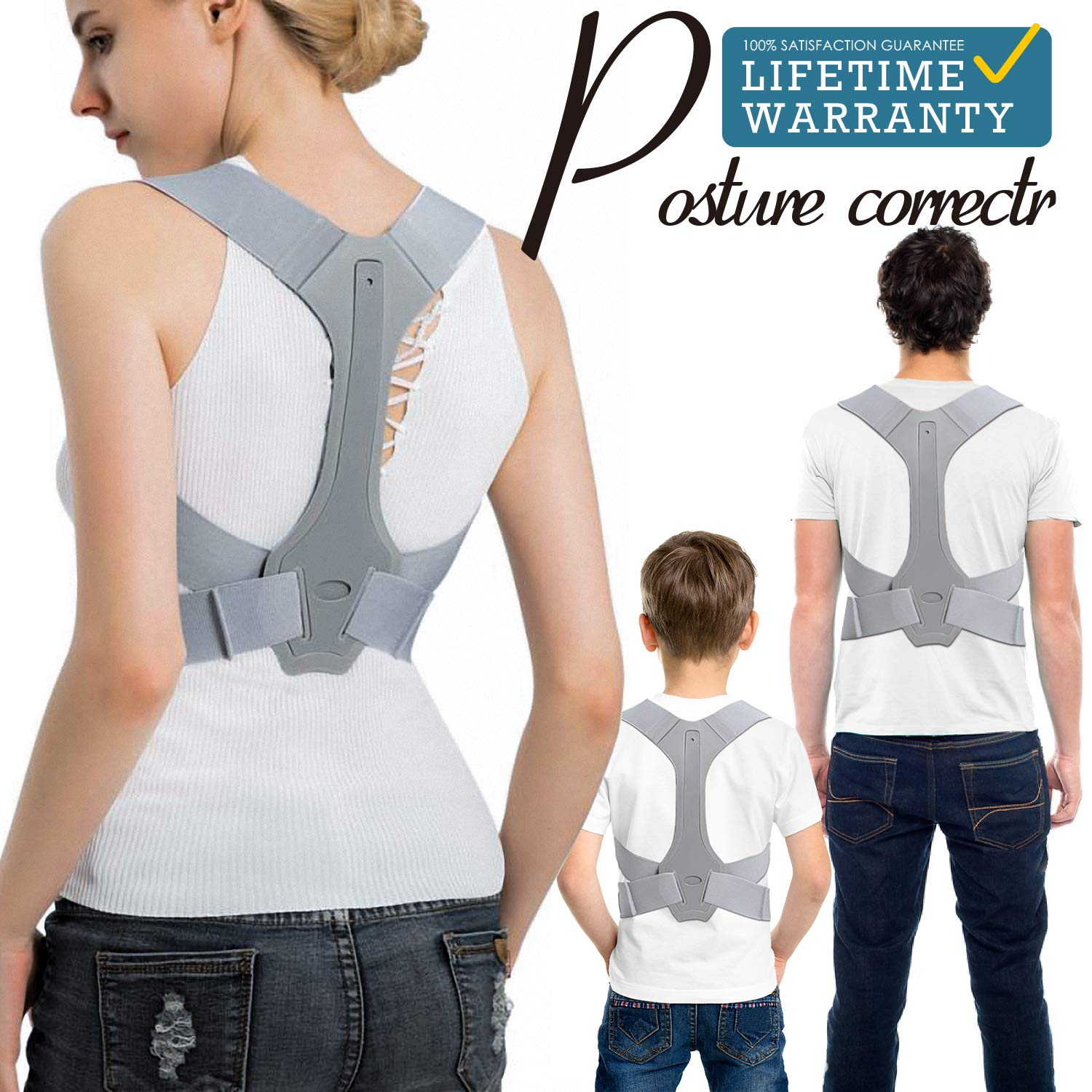 anzoee Posture Corrector for Men & Women - USA Designed Upper Back Brace for Clavicle Support & Providing Pain Relief from Neck, Back & Shoulder(Large)