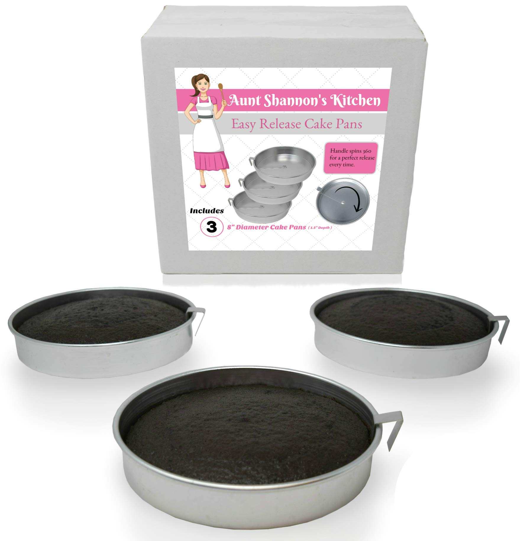 Aunt Shannon's Easy Release 8'' Cake Pans - Set of 3 Quick Release Pans for Easy Cake Removal Every Time by Aunt Shannon's Kitchen