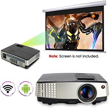 Portable Android WiFi Projector 2600 Lumens 1080P Mini Wireless ...