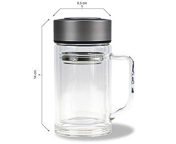 Tetera con asa/300 ml/100% resistente al/Té de cristal doble