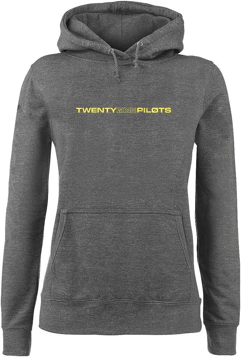 Regular//Coupe Standard Twenty One Pilots Logo Heavy Femme Sweat-Shirt /à Capuche Gris chin/é