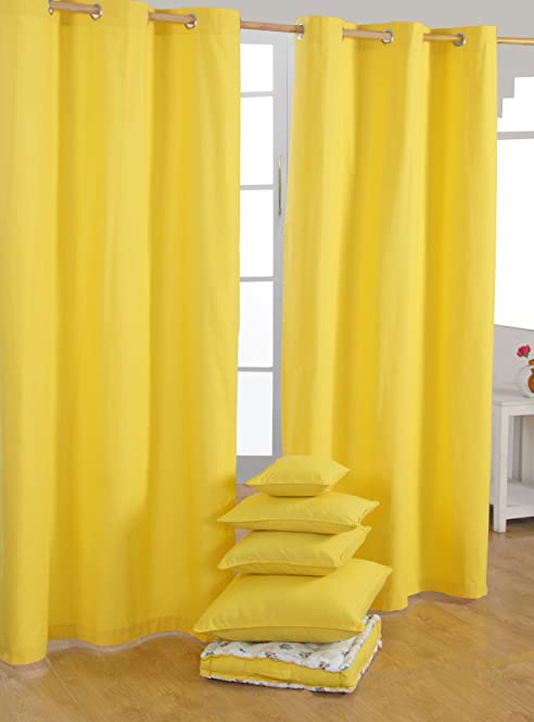 Homescapes Yellow Eyelet Curtain Pair 137cm (54\
