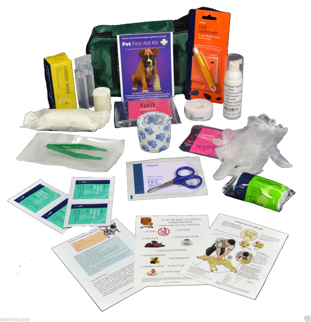Warwick Whelping Boxes Pet First Aid Kit Comprehensive with paw print bandage and 50ml Hand sanitiser foamer CPR guide and Toxic foods leaflets included Warwick Whelping Boxes® Warwick Pet First Aid Kit Comprehensive