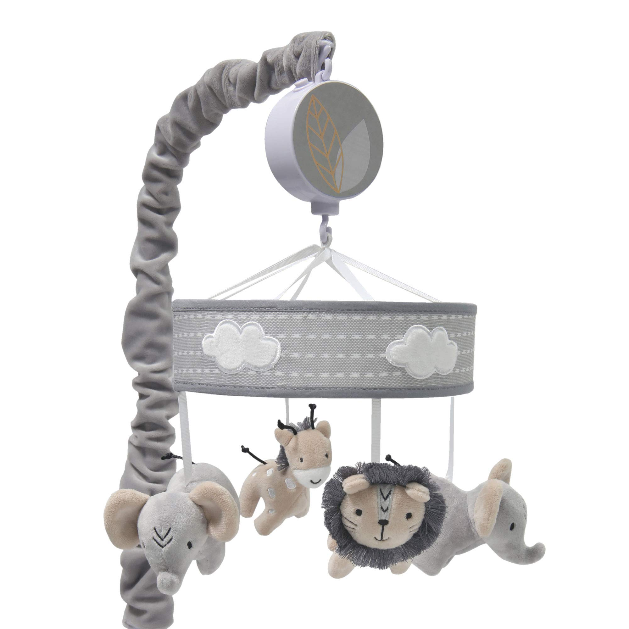Lambs & Ivy Jungle Safari Musical Baby Crib Mobile - Gray, Beige, White, Animals by Lambs & Ivy