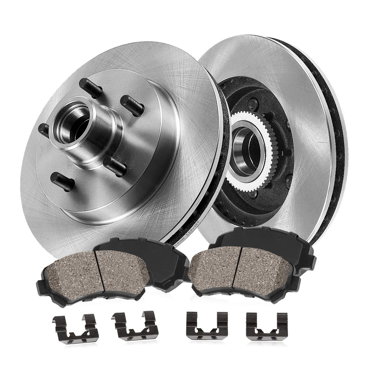 [ RWD Pickup SUV Series ] FRONT 286.7 mm Premium OE 5 Lug [2] Brake Disc Rotors + [4] Ceramic Brake Pads + Clips Callahan Brake Parts
