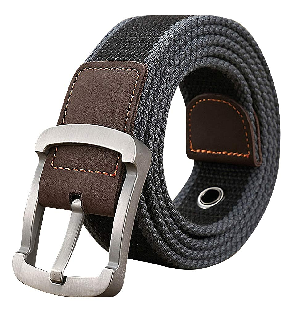 Celino Unisex Solid Color Or Striped Canvas 1.38 Wide Alloy Pin Buckle Belt