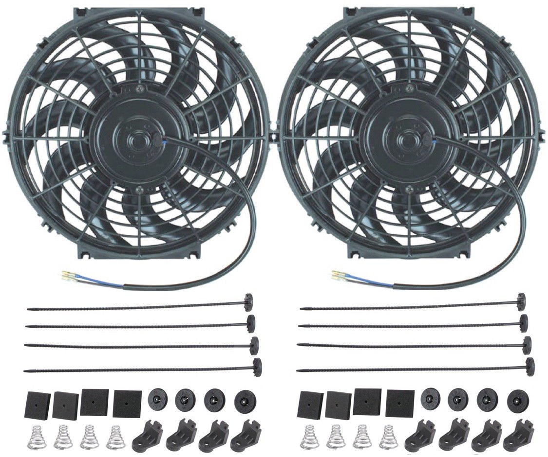 "American Volt 12V Electric Radiator Cooling Fan Reversible High Performance Thermo Cooler Best CFM (12"" Inch, Dual Fan)"
