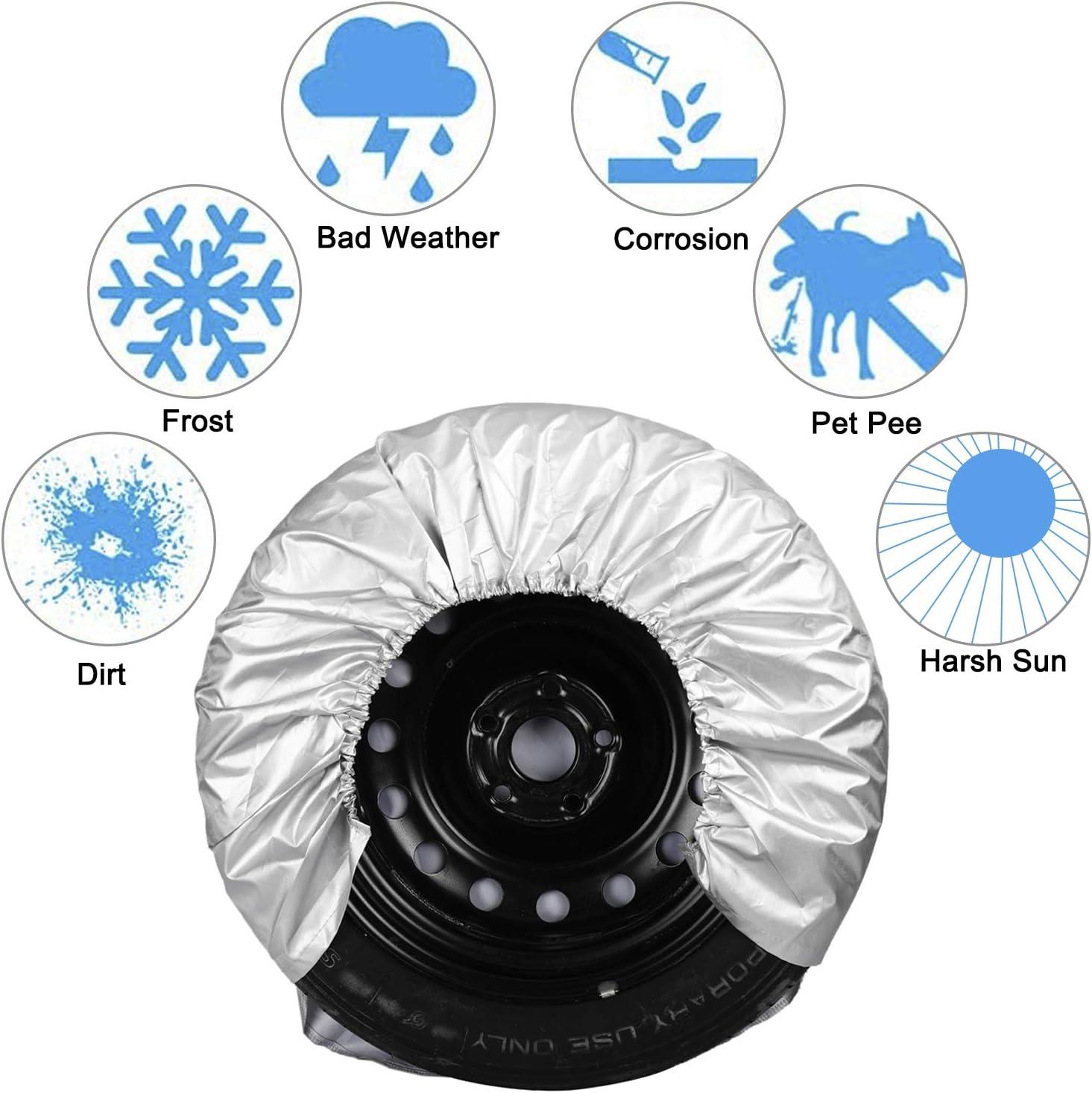 Set of 4 Motorhome Wheel Tire Covers Waterproof Sun-Proof Tire Protectors for RV Auto Truck Car Camper Trailer Fits 27-29 Tire Diameters Yaegoo Tire Covers