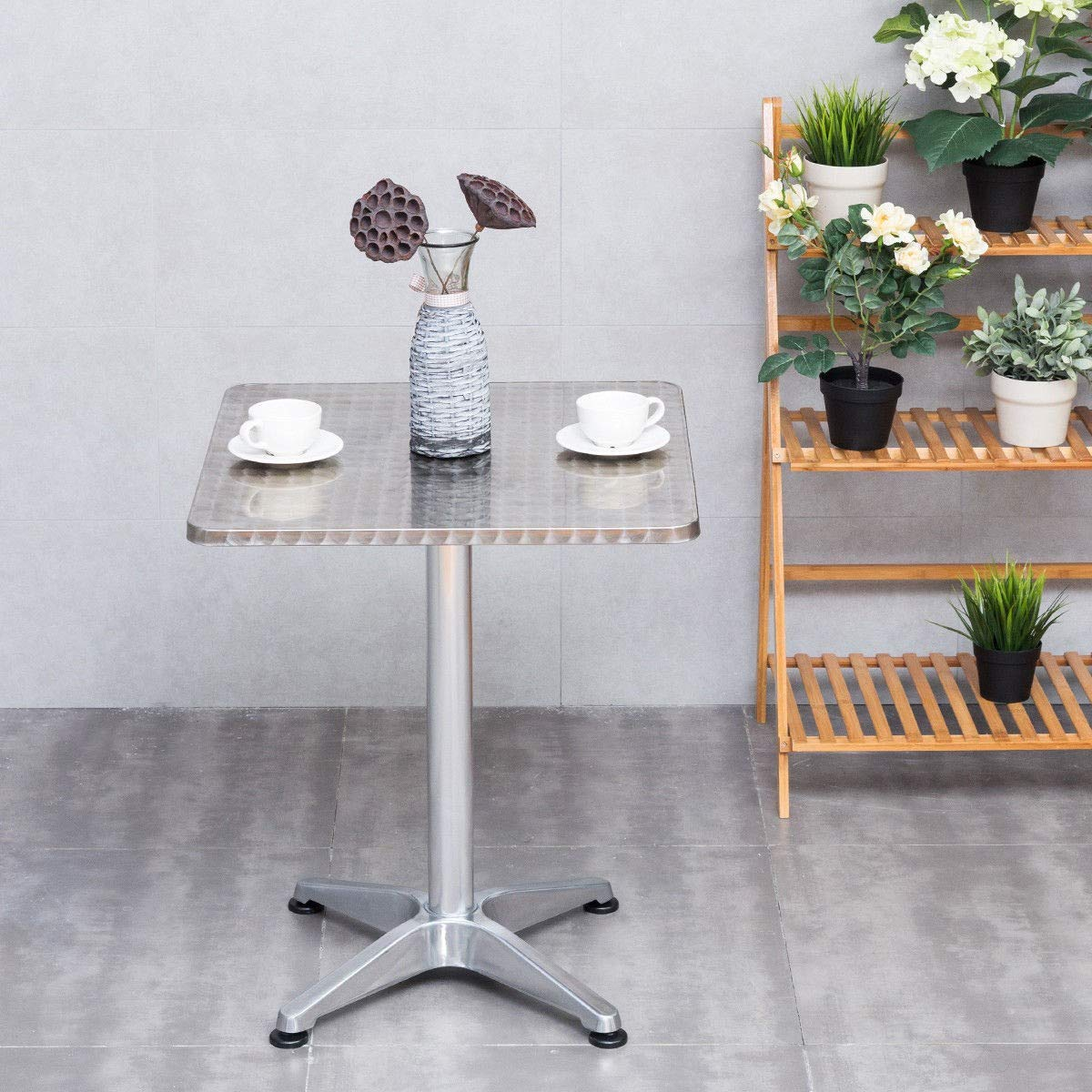 EZ FunShell HW56167 23 1/2'' Stainless Steel Aluminium Square Cafe Bistro Dining Table, Silver