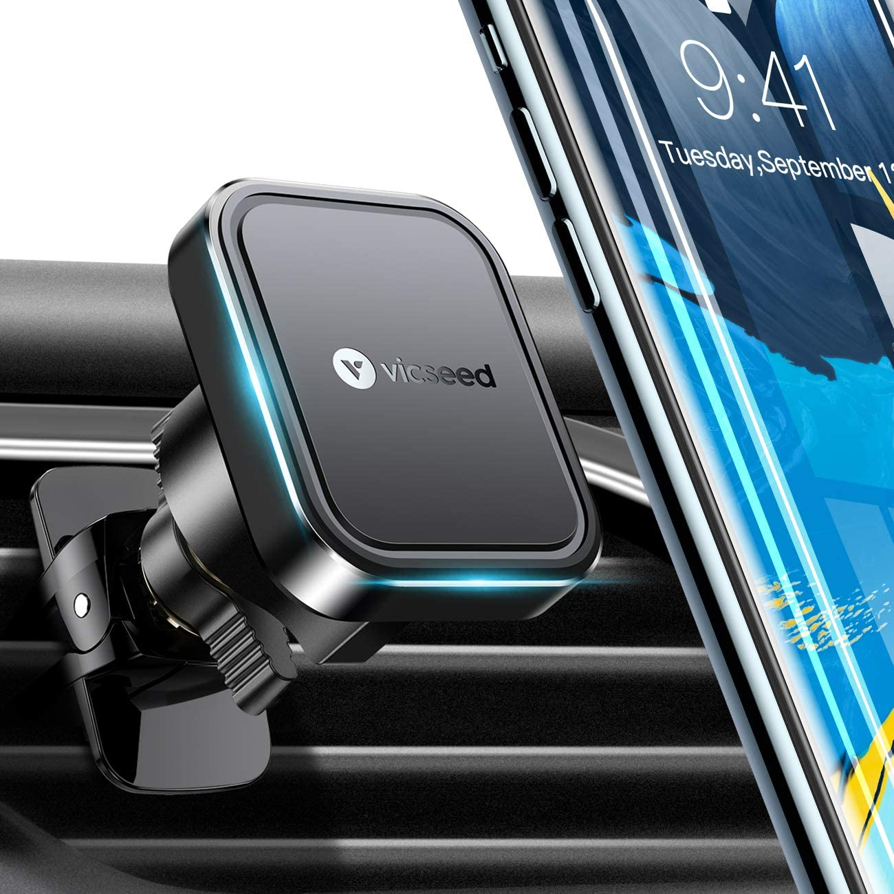 VICSEED Car Phone Mount Magnetic Phone Car Mount Upgraded 6 Strong Magnets Air Vent Mount 360° Rotation Cell Phone Holder for Car Fit for iPhone 11 Pro Xs Max XR X 9 8 Galaxy S20 Note 10 10+ All Phone