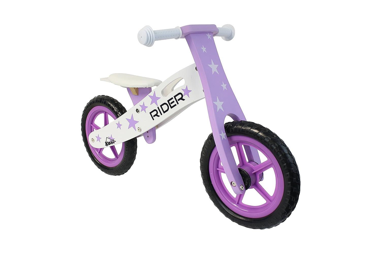Kobe Wooden Balance Bike Purple Rider Purple and White