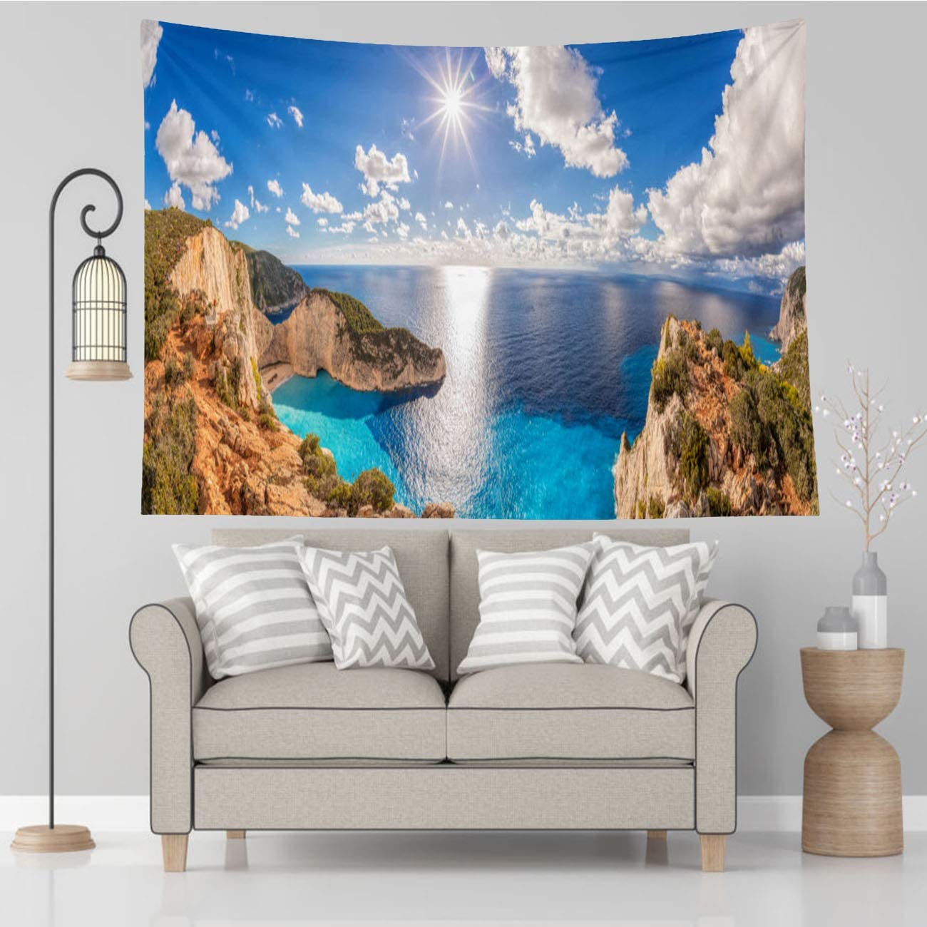 Vikes Beach Tapestry,Beautiful Beach Shipwreck Zakynthos Island Greece Blue White,Tapestry Wall Hanging Art for Living Room Bedroom Home Decor,60x40 in