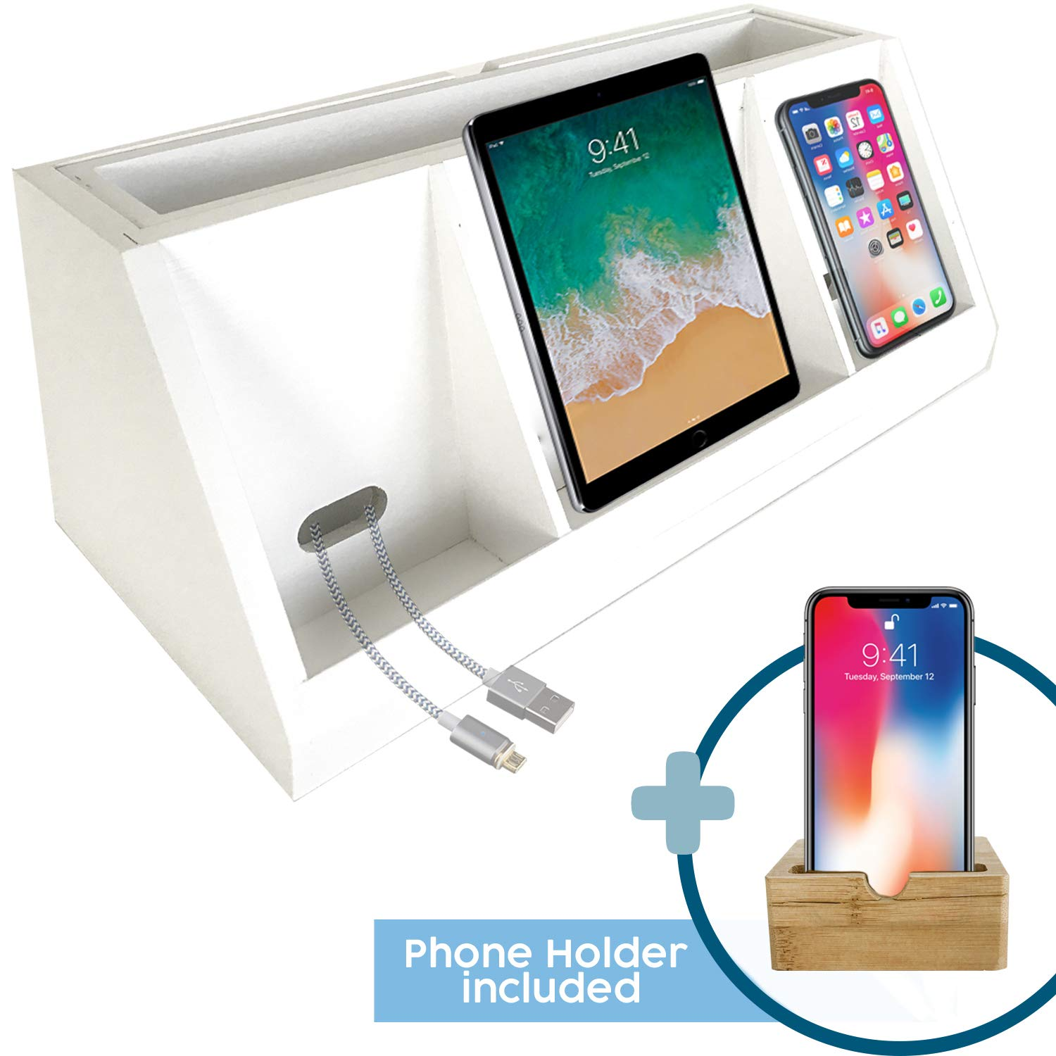 Bamboo Wood Charging Stand   Wooden Charger Station for Multiple Devices   Docking Stand Ideal for Family   Eco Friendly Phone Dock Station Organizer   Free Bamboo Phone Holder