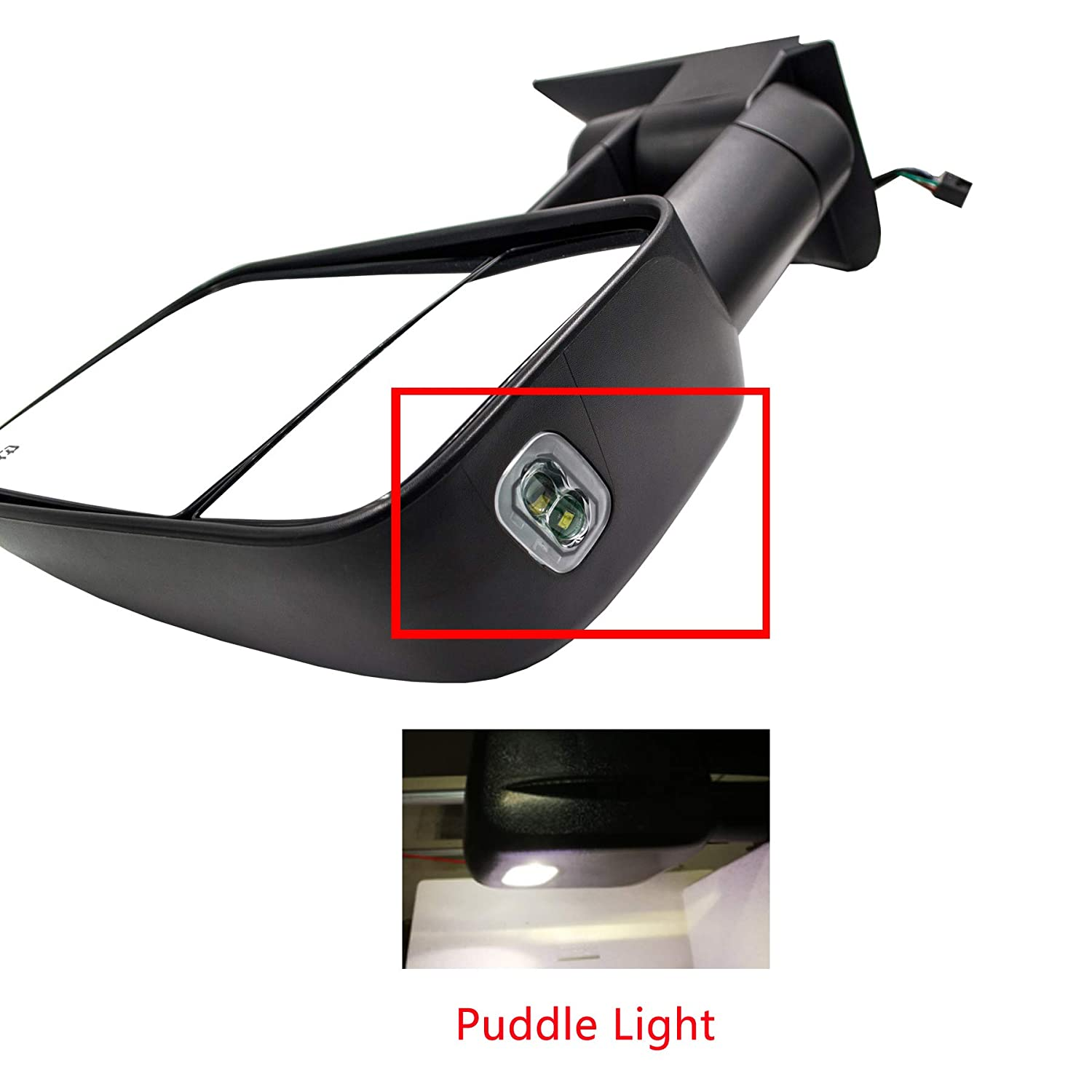 AERDM New 2pcs Power Heated Glass Telescoping Towing Mirrors with Puddle Lights Plug /& Play Mirrors Set Fit for Chevy//GMC//Cadillac Silverado Sierra Avalanche Suburban Tahoe Yukon XL Escalade EXT