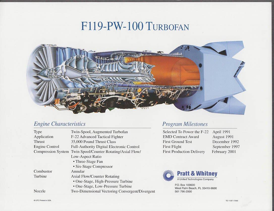 Lockheed Martin F-22 Raptor Pratt & Whitney engine spec sheet 1997 at  Amazon's Entertainment Collectibles Store