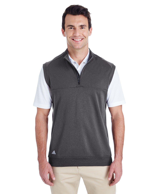 adidas Golf Mens Quarter-Zip Club Vest (A271) -Black Heat -3XL