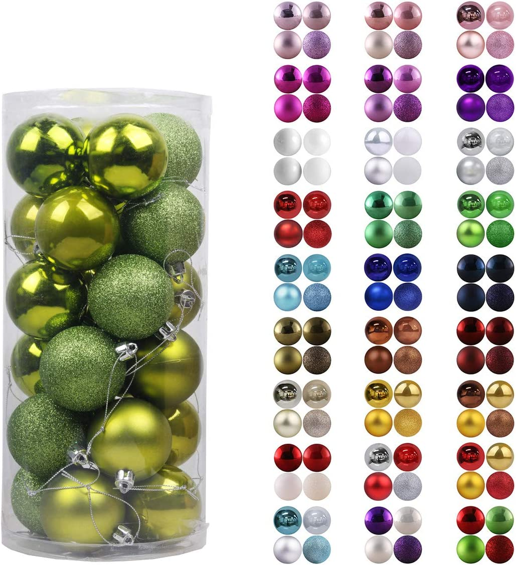 "24Pcs Christmas Balls Ornaments for Xmas Tree - Shatterproof Christmas Tree Decorations Large Hanging Ball Lemon Green 2.5"" x 24 Pack"