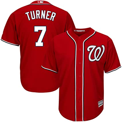2a2bf5e2 Outerstuff Trea Turner Washington Nationals #7 Red Youth Cool Base  Alternate Replica Jersey (Small