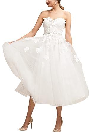 f24edb7c187 Wanhua Women s Vintage 80S Little Strapless Tulle Tea Length Short Wedding  Dress Bridal Gown at Amazon Women s Clothing store