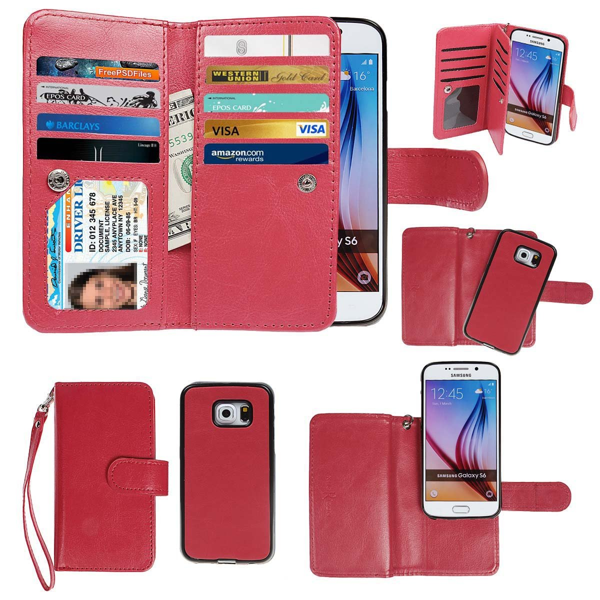 Samsung Galaxy S6 Case, xhorizon TM Premium Leather Folio Case [Wallet Function] [Magnetic Detachable] Fashion Wristlet Lanyard Hand Strap Purse Soft Flip Book Style Multiple Card Slots Cash Compartment Pocket with Magnetic Closure Case Cover Skin ZA5 for