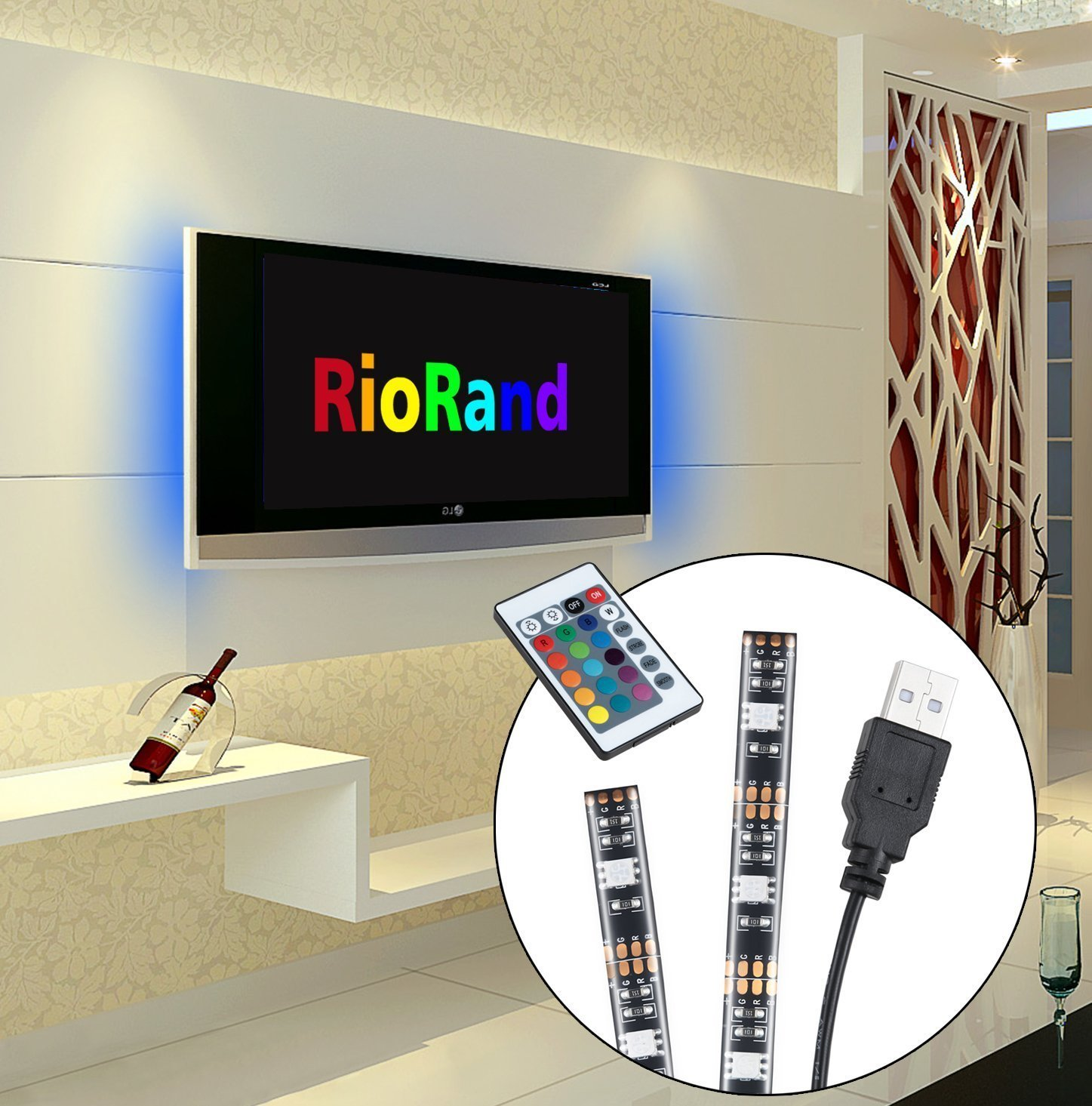 RioRand 16.4FT SMD 5050 Waterproof LEDs RGB Flexible LED Strip Light Lamp Kit + 44Key IR (300 Light Without Power Adapter)