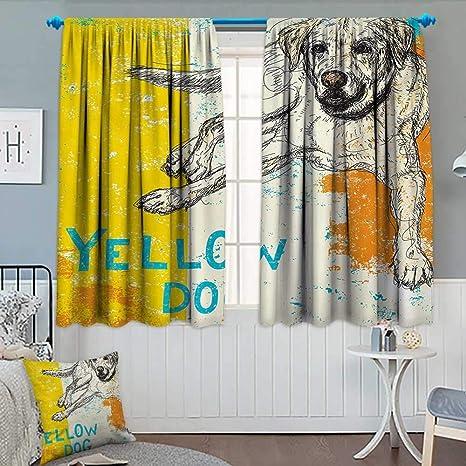 Cortina afregunina Amarilla, Opaca, diseño de Perro Sentado, ilustración Sobre Fondo a Rayas