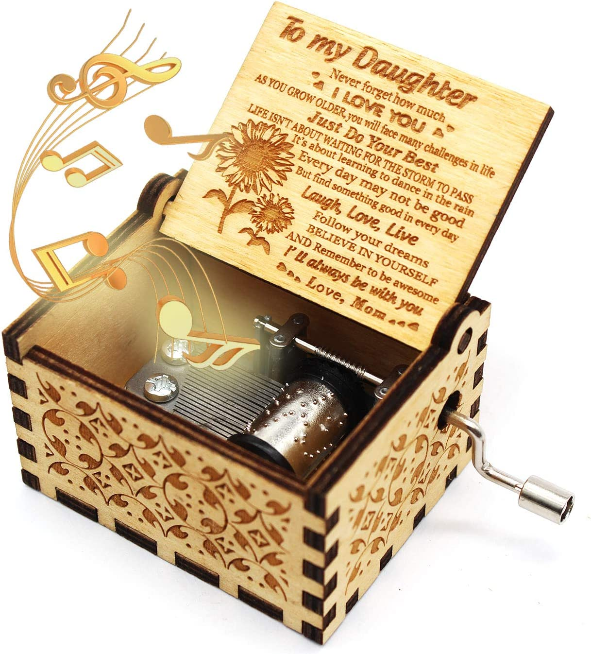 ukebobo Wooden Music Box- You are My Sunshine Music Box, from Mom to Daughter, Unique Music Gifts for Kids - 1 Set(TYH)