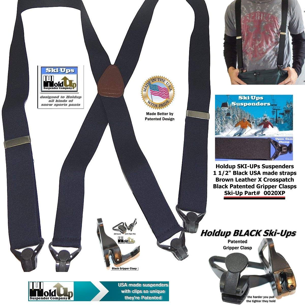 a8a170de766 American made HoldUp Black Snow Ski-Ups X-back Suspenders with Patented  black Gripper Clasps