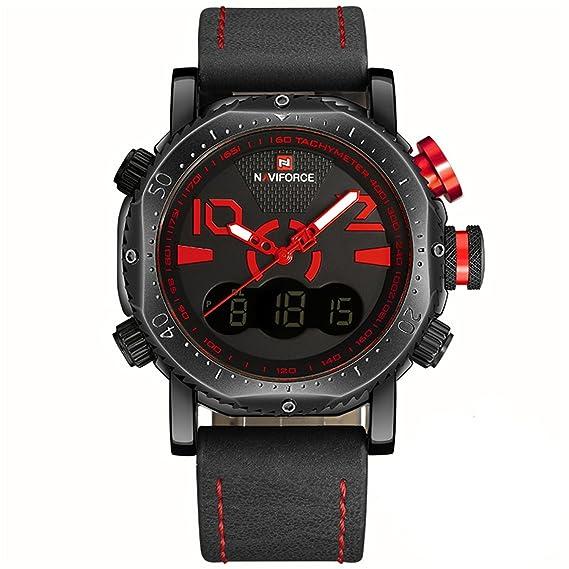 Marca de lujo para hombre analógico digital de cuero deportivo Relojes de hombre Ejército Militar reloj de pulsera Hombre reloj de cuarzo relogio Masculino ...