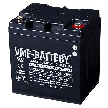 VMF Batería de ciclo profundo AGM DC28-12S, 12 V, 28 Ah: Amazon.es: Coche y moto