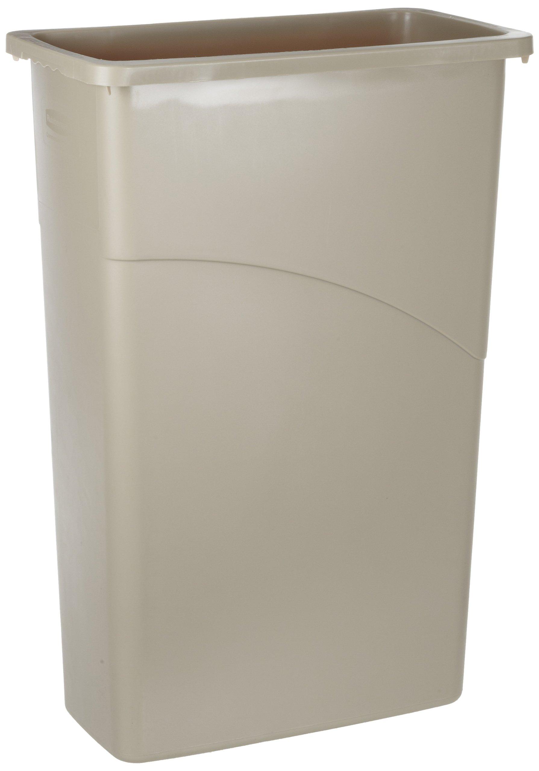 Rubbermaid Commercial Slim Jim Waste Container, Rectangular, Plastic, 23 Gallons, Beige (354000BG)