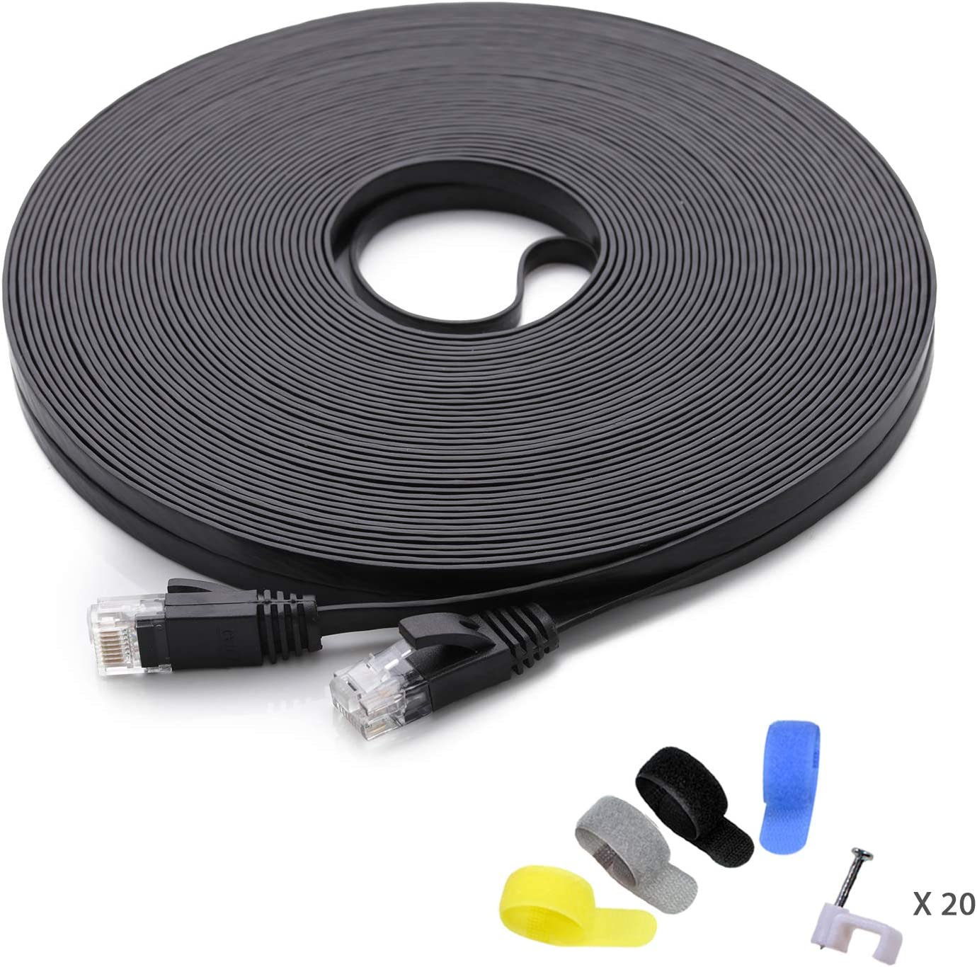 Cat 6 Ethernet Cable 100 ft (at a Cat5e Price but Higher Bandwidth) Flat Internet Network Cable - Cat6 Ethernet Patch Cable Short - Black Computer LAN Cable + Free Cable Clips and Straps: Computers & Accessories