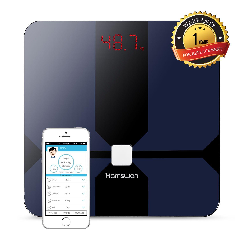 Hamswan cf376ble Smart Báscula Bluetooth grasa corporal (con Multi Funciones de peso Agua Porcentaje muscular huesos BMI Bmr (Calorías) grasa corporal y ...