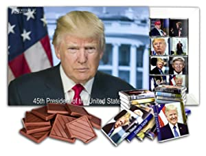 DONALD TRUMP 45TH PRESIDENT, Big Chocolate Gift Set, 24 pieces in 1 box, 10x7in (Prime 9019)