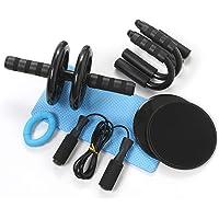 Azeekoom 8-in-1 buikspiertrainer-set, buikroller + anti-slip kniebeschermer + 2 glijschijven + 2 push-steunen…