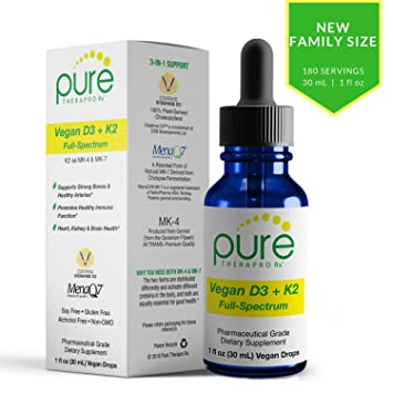 VEGAN D3 + K2 Full Spectrum Drops for Best Absorption | 5 Drops Contain: 5,000