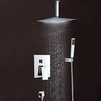 Ceiling Mounted Shower Faucets Sets Complete with 12 Inch Solid ...