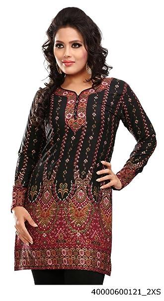 Indian Túnica Top para Mujer Kurti Impreso Blusa India Ropa - Negro -
