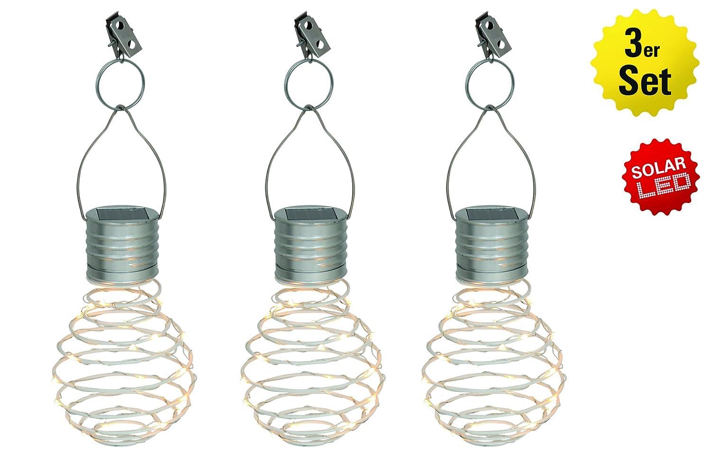 Näve Leuchten Juego de 3 - Lámpara solar decorativa (Almeria color blanco, Metal, 1 W, Plata, 26 x 9 x 9 cm, 3 unidades: Amazon.es: Iluminación