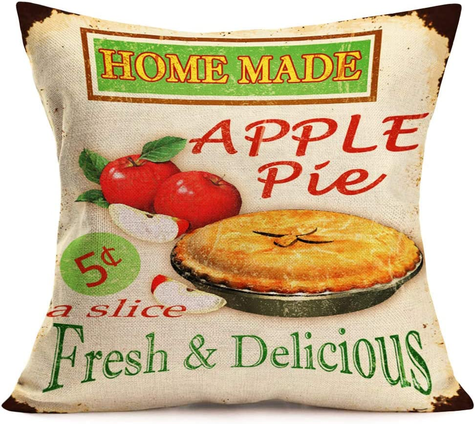 Asamour Vintage Leisure Time Throw Pillow Cover Afternoon Tea and French Dessert Coffee Bakery Cotton Linen Decorative Pillow Case Cushion Cover Coffee Shop Sofa Pillowcase 18''x18'' (Apple Pie)