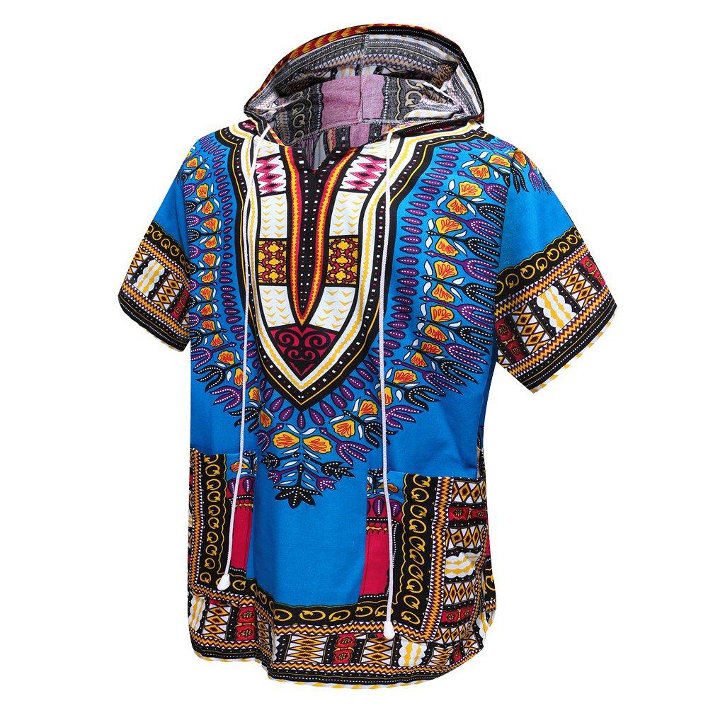 African Dashiki Unisex Traditional Hoodie Top(Blue)