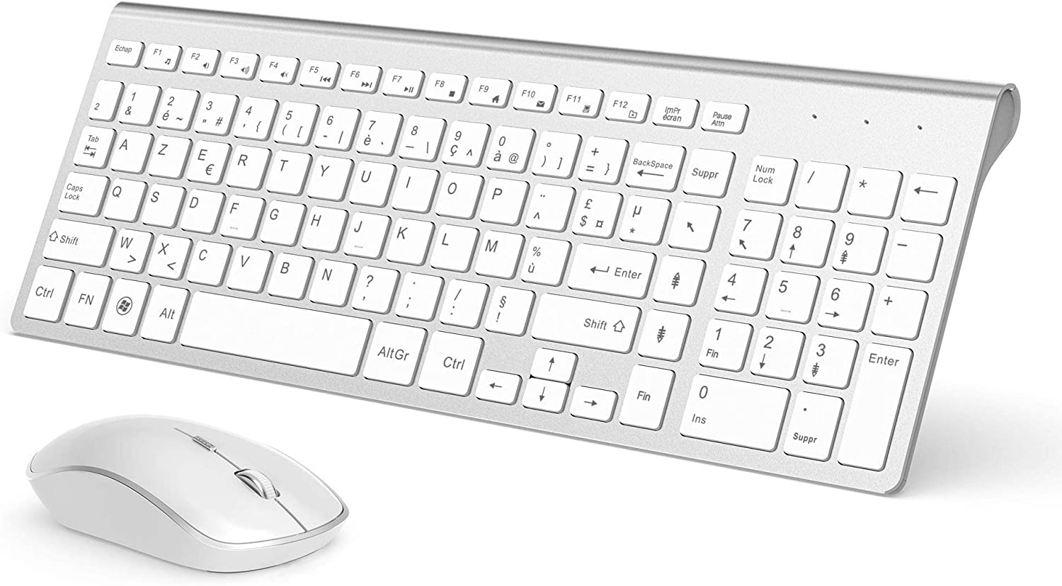 JOYACCESS - Teclado inalámbrico de 2,4 GHz Ultrafino con Teclado inalámbrico inalámbrico, silencioso 2400 dpi ergonómico para PC, Smart TV, Ordenador (QWERTY Disposition), Color Blanco y Plateado: Amazon.es: Informática