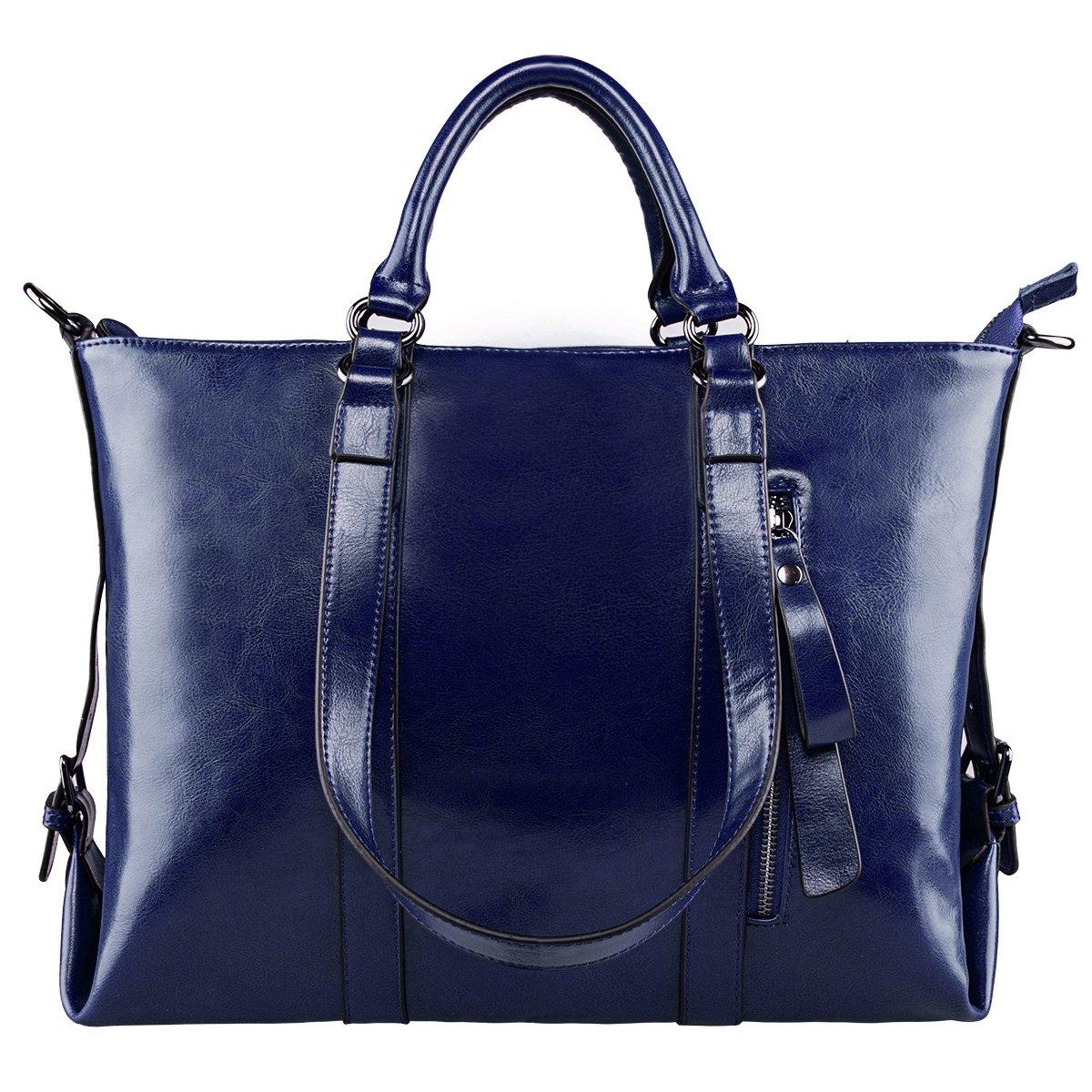 5ab75568ed Amazon.com  S-ZONE 3-Way Women Genuine Leather Shoulder Bag Work Tote  Handbag  Clothing