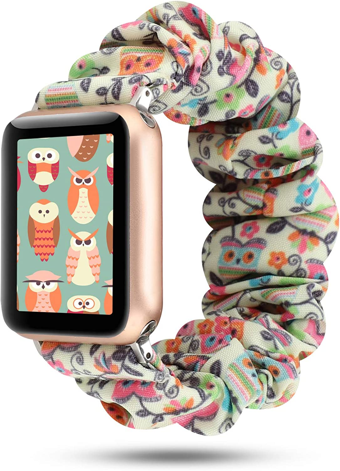WONMILLE Scrunchie Elastic Wrist Bracelet for Apple Watch Band 38mm/40mm, Fancy Elastic Hair Wristbands Replacement for iWatch Series 5/4/3/2/1 Women Girls