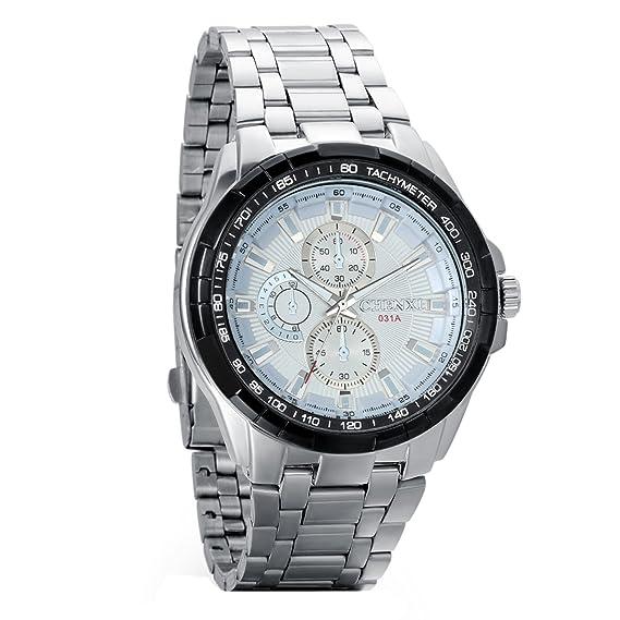 Avaner Grande Reloj para Hombre Caballero Correa de Acero Inoxidable Dial Blanco Reloj de Pulsera Deportivo 3 Subesferas Decorativas, Reloj Cuarzo ...