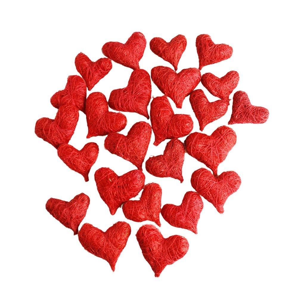 Sisal Corazones, Rojo, 24 ST. – Adornos Rojos Corazones Decoración para Bodas, San Valentín o otros romántica Ocasiones