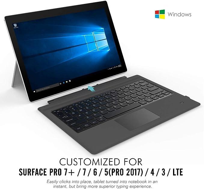 MoKo Surface Pro 7 Plus/7/6/4/3/Pro 2017 Teclado Inalámbrico Bluetooth - Wireless Keyboard (QWERTY) para Microsoft Surface Pro 6/4/3 Tableta/Panel ...