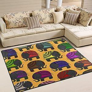ALAZA Decorated Indian Elephant Indoor Modern Area Rug 4' x 5', Dining Room Home Bedroom Carpet Floor Mat Nursery Rug Room Mat
