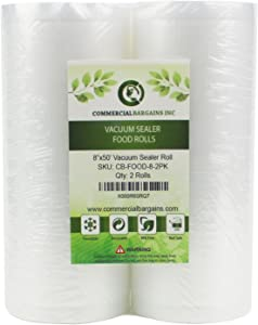 "Commercial Bargains 2 Large 8"" x 50' Vacuum Saver Rolls Commercial Grade for Foodsaver Sealer Bags Sous Vide"