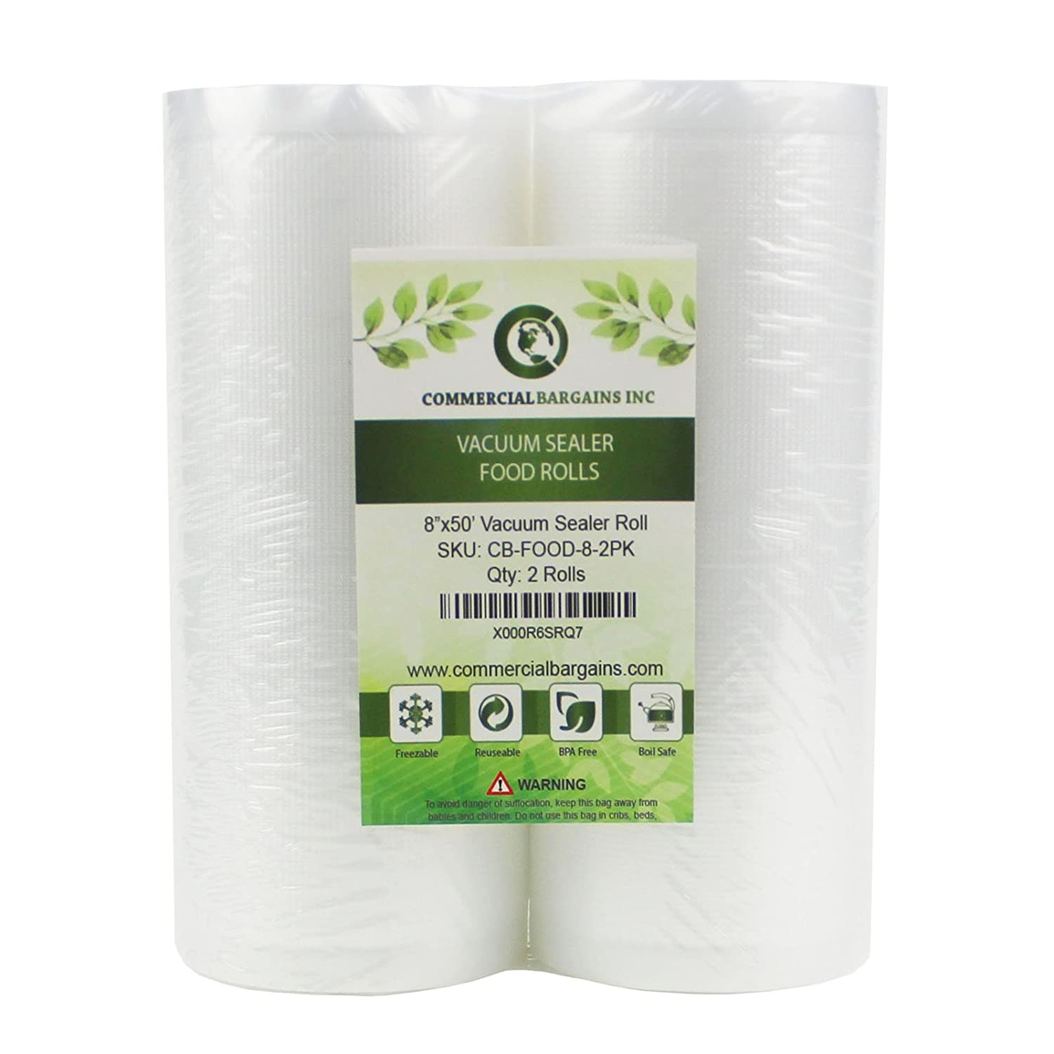 "2 Large 8"" x 50' Vacuum Saver Rolls Commercial Grade Food Sealer Bags by Commercial Bargains"